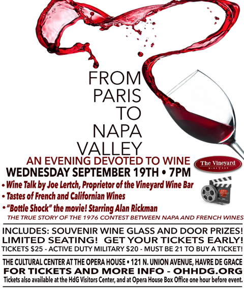 GET TICKETS:  FROM PARIS TO NAPA VALLEY: An Evening Devoted to Wine